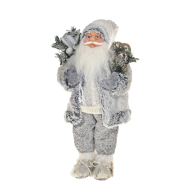 White and grey standing santa 46cm
