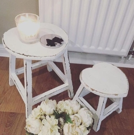 White shabby chic rustic heart stools set