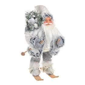 White and grey santa skiing 30cm